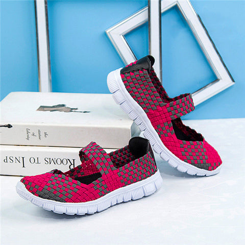 2017 Fashion Womens Weave Shoes Spring Autumn Mixed Color Checkered Breathable Sport Casual Shoes Loafers Tenis Feminino O1183 - Raja Indonesia