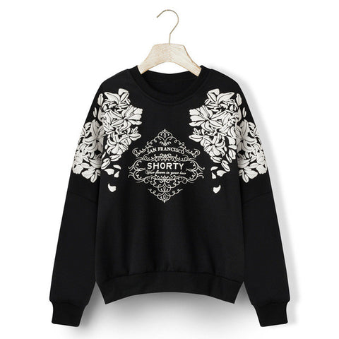 2017 3D Flower Hoodies Print Graphic Floral Women Sweatshirt Lady Hoodies Long Sleeve Loose Hoody Warm Women Casual Clothes J495 - Raja Indonesia