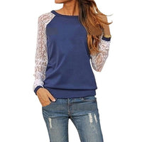 2017 Fashion Women Long Sleeve Lace Patchwork Blouses Casual Tunic Shirts Jumper Pullover Tops Blusas Camisetas Mujer Plus Size - Raja Indonesia