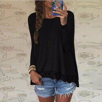 2017 Spring ZANZEA Women Blusas Casual Loose Elegant T Shirt Long Sleeve Shirt Lace Crochet Embroidery Hem Female Tops Plus Size - Raja Indonesia