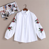 100% Real 2017 New Arrival Spring Long Sleeve Rose Floral Embroidered Shirt Female/Women Casual Cotton White Blouse Shirts blusa - Raja Indonesia