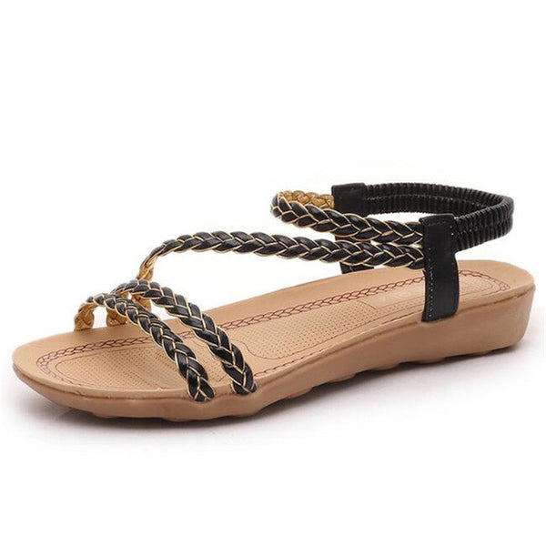 2017 Bohemian Women Summer  Sandals low Heel Flip  flat sandals With Sunflower Beads Flat flat sandals  Size 36-40 .HYKL - Raja Indonesia