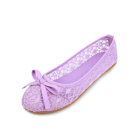 Plus Size 35-45 Summer Shoes Women Flats Cut-out Slip on Shoes Lace Women Ballerina Flats Sweet Ladies Shoes Loafers 3359 - Raja Indonesia