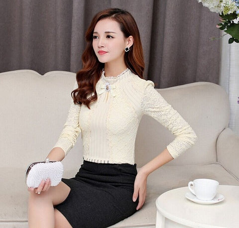 S-3XL Royal Elegant Women shirt 2017 Spring Fashion Ladies Lace blouse Plus size Female Lace Tops New brand Women clothing
