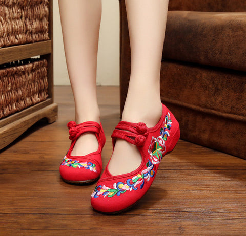 New Arrive Old Peking Cloth Embroidery Women Shoes Chinese Flats Mary Janes Casual Walking Dance Women Soft Shoes Plus Size 41 - Raja Indonesia
