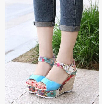 2017 Summer Style,Women's Shoes Sandals Sexy High Wedge Heel  Sandals Sweet Cute Thick Crust Waterproof Flower Shoes .DDN-lx04 - Raja Indonesia