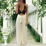 2016 summer loose two piece set women lace crop top bangdage sexy plus size women suspenders chiffon pant sets XD824 - Raja Indonesia