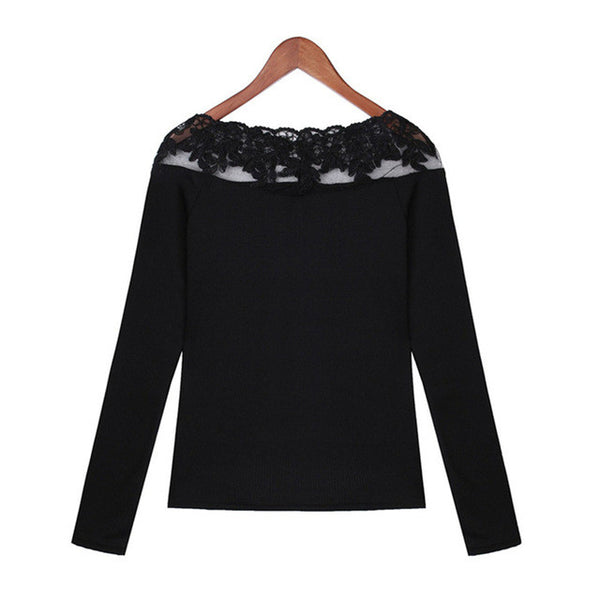 2017 Women Elegant Lace Embroidery Stitching Shirts Long Sleeve Slim Fit Knitted Blouses Striped Casual Tops Plus Size Blusas - Raja Indonesia