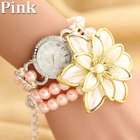 2017 Women Watches Beautiful Pearl Flower Bracelet Watch Ladies Fashion Female Clock for Girls Montre Femme Relogio Feminino - Raja Indonesia