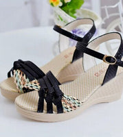 2017 Women Platform Sandals Wedges  Metal Button Sandals  Buckle Weave Thick Bottom Shoes  Plus Size 35~41 .XL-Q-M2 - Raja Indonesia
