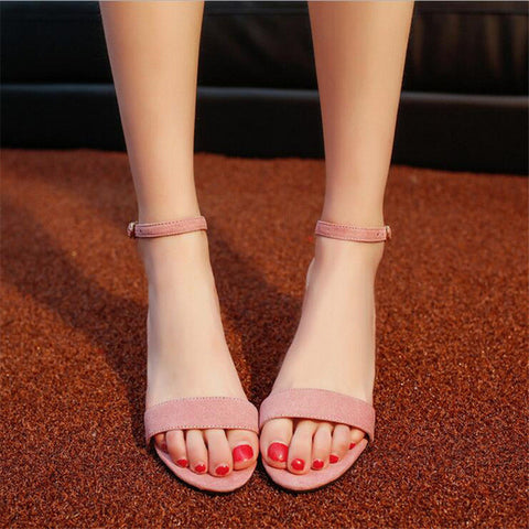 [H]Summer Think Mid Heel Dress Sandals Rough With The Fish Head Word Buckle Sandals open-toed Sandals European .DFGD-528