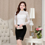 2017 Spring Summer Women Tops Fashion Lace Blouse Long Sleeve Slim Body Floral Shirt Elegant Plus Size Lace Top blusas femininas - Raja Indonesia