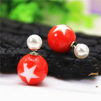 2016 new fashion brand jewelry double side Christmas stud earrings for women clear beads statement gift earrings free shipping - Raja Indonesia