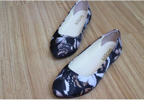 2016 new shoes tide Korean summer watercolor printing butterfly fashion shoes flat shoes large size sock for free FX0517 - Raja Indonesia