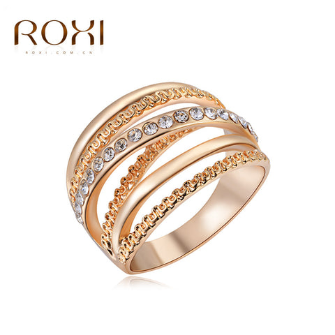 2017 ROXI Brand Ring Rose Gold Plated Zirconia Jewelry Finger Rings for Women Wedding Band Classic Rings Body Jewelry - Raja Indonesia