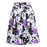 2017 Skirts Jupe Women Flora Print Vintage Retro Cotton Pleated Skater Skirt Falda High Waist Midi Skirt - Raja Indonesia