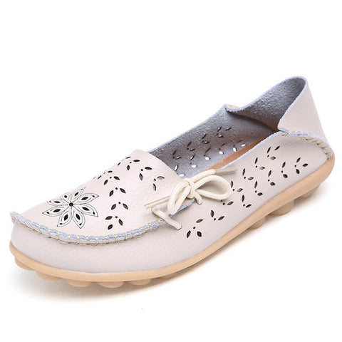 ifang 2017 Spring Summer women flats shoes women genuine leather shoes woman cutout loafers slip on ballet flats boat shoes - Raja Indonesia