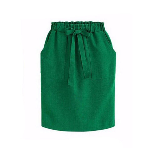 2017 New Spring Summer Midi Skirts Womens Cotton Linen Casual High Waist Package Hip Skirt Bow Loose Pencil Skirt Black Green - Raja Indonesia