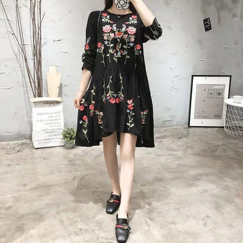 2017 women vintage long sleeve flower floral embroidery black dress elegant vestidos casual loose round collar ruffle dresses - Raja Indonesia