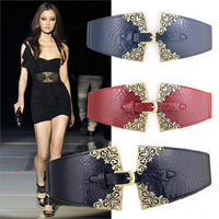 2015 New Brand Vintage Women Elastic Leather Belt Unique Design Alloy Buckle All Match Wide Belts For Women - Raja Indonesia
