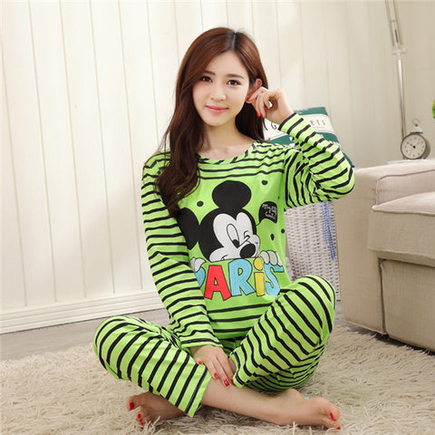 Free shipping Pajama Sets Long Sleeve women Sleepwear Autumn and Winter Carton Cotton Pajamas Mujer Women Home Clothes Wholesale - Raja Indonesia