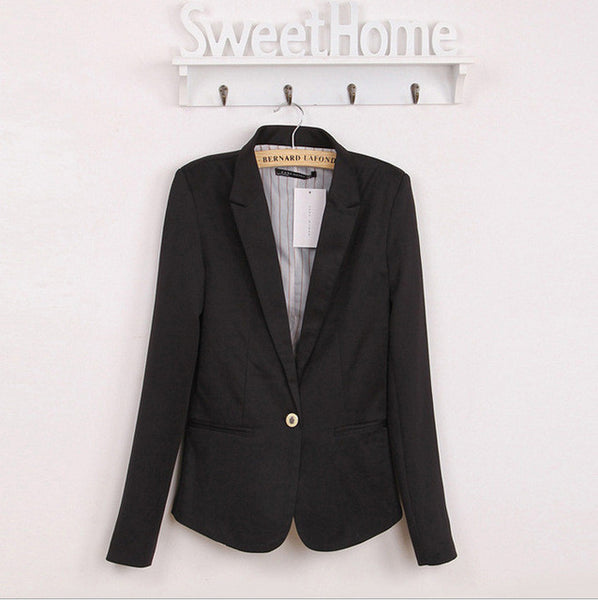 2016 Women Suit Blazer Fashion Brand Jacket Women Candy Colors Long Sleeve One Button Blazers Free Shipping D7995 - Raja Indonesia