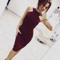 2017 New Summer Women Strapless Dress Bodycon Sleeveless Slim Knee-Length Dress Sexy Party Wine red Black dresses plus size - Raja Indonesia
