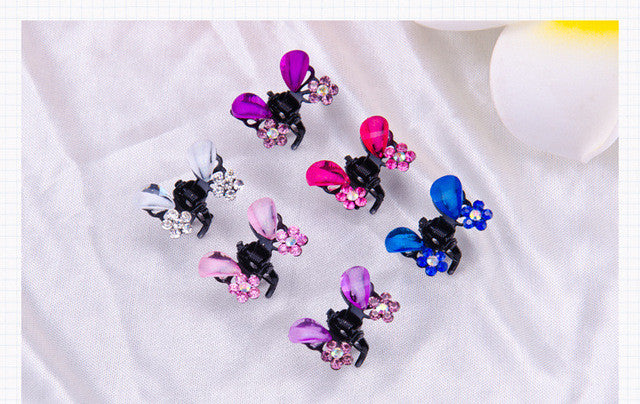 12pcs new fashion Crab clip female crab claw clip hair accessories for children hairpin crystal butterfly small clip - Raja Indonesia