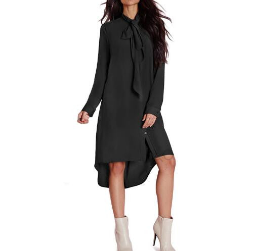 2017 New Style Casual Loose Women Bow Tie Shirts Dress Autumn Female Long Sleeve Solid Color Dresses Vestidos Plus Size GV436 - Raja Indonesia