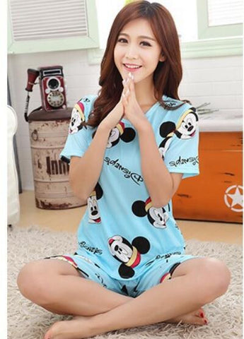 Newest Women Casual Pajamas Sets animal/numeral printing Round Neck Short sleeve Pyjamas For Women Summer cozy sleepwear Suit - Raja Indonesia