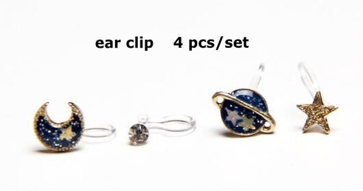2017 brand fashion novelty gold alloy navy blue universe moon star faux pearl mini ear stud earring sets for woman bijoux - Raja Indonesia