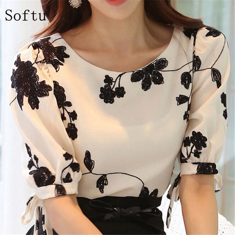 Softu Fashion Women Shirt Blouse Summer Tops Chiffon Casual Shirt O Neck Half Sleeve Floral Printing Female Blusas Clothing