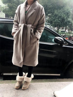 2017 Women Spring Winter Coats Jackets Thick Long Poncho Coats Belt Oversized High Quality Winter Quilt Long Coat Manteau Femme - Raja Indonesia