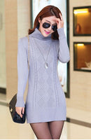 2017 New Women'S Spring Autumn Winter Thicken Turtleneck Pullover Knitted Sweaters Women Long Slim Sweater Dresses - Raja Indonesia