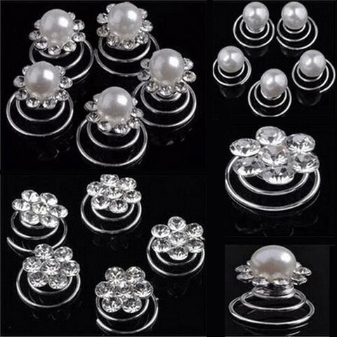 Fashion 12Pcs 2016 Women Elegant Charming Pearl Crystal Scrunchie Twist Hair pins Ornament Hair Accessories - Raja Indonesia
