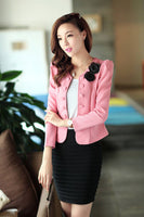 2016 Office Women Blazer Out Wear Appliques Back Bow Short Blazers Suit LadiesWork Style  Black Pink Rose White Suits - Raja Indonesia