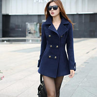 2017 Fashion Women Woolen Coat High Quality Slim Warm Woolen Jacket Coat Korean Style Deep Blue/Red - Raja Indonesia