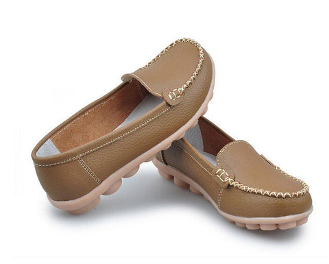 2017 Genuine Leather Wear-resistant Anti-skid Sole Soft Women Casual Shoes 7 Colors Women's Loafers Moccasins Flat Shoes JJ801 - Raja Indonesia