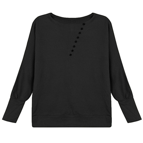 2016 Women Sweater Europe Casual Loose O-Neck Batwing Sleeve Pullover Female Blusas Tops Button High Street Bottoming Shirt - Raja Indonesia