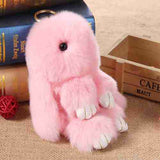 13CM Cute Fluffy Bunny Keychain Rex Genuine Rabbit Fur Pompoms Fur Pom Pom Key chain Bag Charm Car Pendant Key Ring Holder 2017 - Raja Indonesia