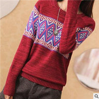 2016 geometric pattern women sweaters and pullovers autumn winter sweater casual style Christmas sweater jumper cheap sale 055 - Raja Indonesia