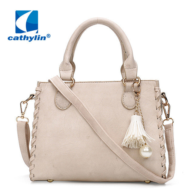 2017 Grade Quality Decorate with Tassel and Pearl Handbag Patent PU Leather Top Handle Women Shoulder Bag - Raja Indonesia