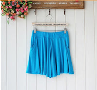 2016 summer style casual solid pocket shorts loose large size wide leg shorts women 12 color waist was thin modal good quality - Raja Indonesia