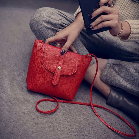 2016 Women Leather Handbags Famous Brand Satchel Messenger Bags Female Crossbody Small Shoulder Bags Clutch Purse Bag Red Black - Raja Indonesia