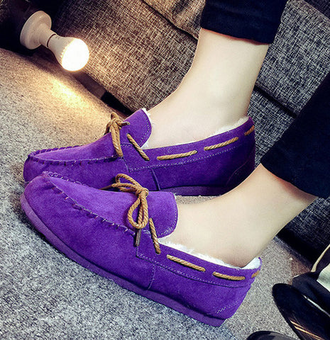 2016 winter women flats warm fur winter boots slip on loafers flat  comfortable winter women casual shoes plus size ALF250 - Raja Indonesia