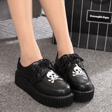 2016 Platform Creepers Platform Women Lace-up Artificial Leather Shoes zapatos mujer Flats #X16 - Raja Indonesia
