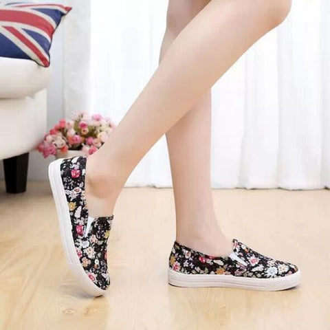 Flower print women flat shoes 2017 platform summer loafers comfortable ladies slip on flats casual canvas shoes S347 - Raja Indonesia