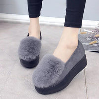 2017 Winter Women Fur Loafers Plush Slip on Shoes Woman Platform Shoes Warm Flat on platforms ladies Black zapatos mujer 3055 - Raja Indonesia