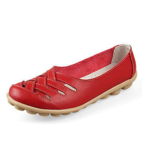Genuine leather summer women flats shoes 2017 casual flat shoes women loafers shoes leather red flat women's shoes - Raja Indonesia