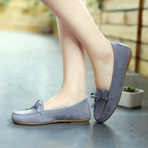 Spring summer Women Loafers Nubuck Leather Boat Shoes Candy color Slip on Shoes Woman Flats Bow Flat Shoes Zapatos mujer S302